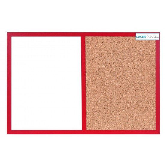 Magneticko-korková tabuľa v drevenom ráme - červená WOOD (60x40 cm)