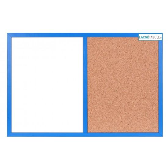Magneticko-korková tabuľa v drevenom ráme - modrá WOOD (60x40 cm)