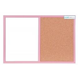 Magneticko-korková tabuľa v drevenom ráme - ružová WOOD (60x40 cm)