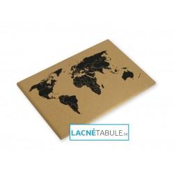 Korková tabuľa bez rámu - čierna mapa sveta (60x40 cm)