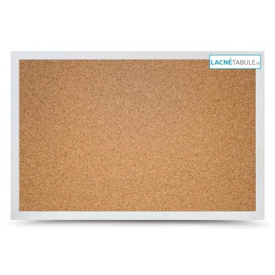 Korková tabuľa v dekoratívnom ráme - biely (90x60 cm)