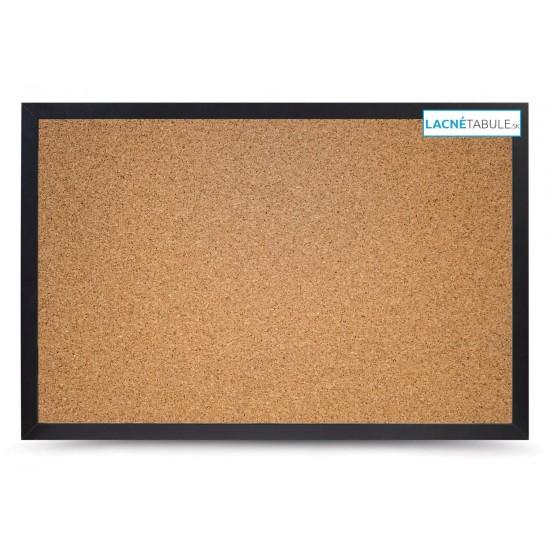 Korková tabuľa v dekoratívnom ráme - čierny (90x60 cm)