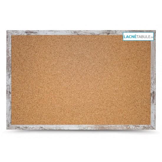 Korková tabuľa v dekoratívnom ráme - rustikálny (60x40 cm)
