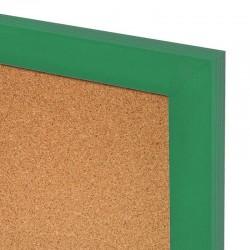 Korková tabuľa v drevenom ráme - zelená WOOD (60x40 cm)