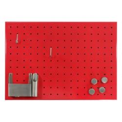 Kovová magnetická tabuľa s otvormi - červená (50x35 cm)
