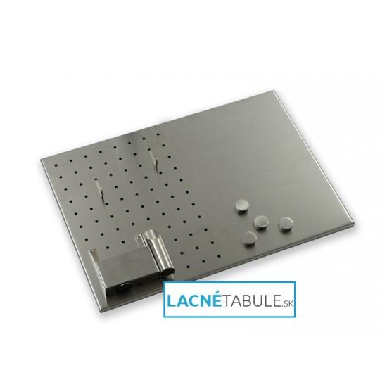 Kovová magnetická tabuľa s otvormi - sivá (50x35 cm)